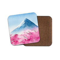 Pretty Fuji Mountains Coaster - Watercolour Cherry Blossom Travel Gift #16639