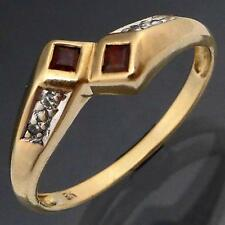 Low Set Budget GARNET & DIAMOND 9k Solid Yellow GOLD BY-PASS DRESS RING Med Sz N