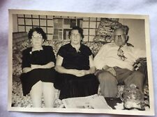 Vintage Photo 2 Ladies Man Cat Eye Glasses Elderly 1950's on Couch 22043
