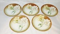 Set of 5 Hand Painted R S Tillowitz Silesia Bread Plates, Tan with White Flowers
