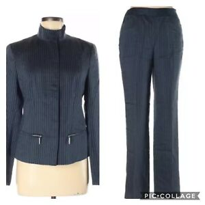 Lafayette 148 Womens Jacket Pants 2 Piece Suit 6 Navy White Pinstripe Zip Up