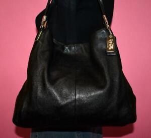 COACH Madison PHOEBE Black Pebbled Leather Hobo Shoulder Purse Bag 34291