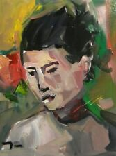 JOSE TRUJILLO Expressionist 12x16 Portrait Woman COA - Highly Collected Artist