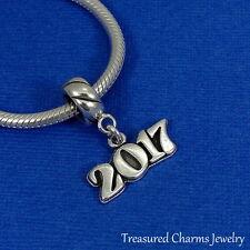 925 Sterling Silver Year 2017 Graduation Dangle Charm - fits European Bracelets