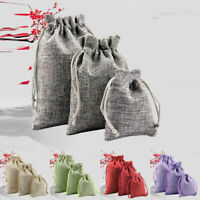 10pcs Small Burlap Jute Hessian Wedding Favor Gift Candy Bags Drawstring Pouches