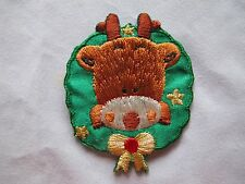 #3162 Christmas Wreath w/Reindeer Face Embroidery Iron On Applique Patch