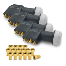 4x ARLI Universal Quad LNB 0.1dB 16 F STECKER vergoldet Sat FullHD 3D Digital 4K