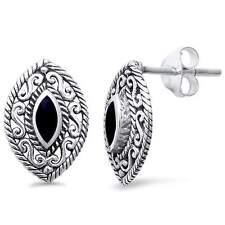 Black Onyx Marquise Filigree .925 Sterling Silver Earrings