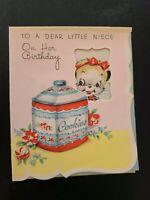 Vtg Rust Craft Birthday Greeting Card Kitten cat Cookie Jar NIECE 1940s