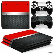 PS4 Pro Playstation 4 Console Skin Decal Sticker Red Metal + 2 Controller Skins