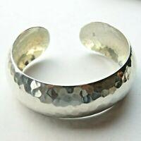 925 Sterling Silver Hammered Bangle Bracelet Small Size 25.6g Diam 5.5cm