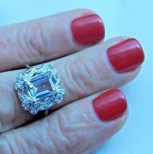 2.20 Ct. Emerald Cut Aquamarine w/Diamonds Sterling Silver Ring
