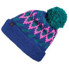 O'NEILL SKI HAT.NEW REISSUE BLUE PINK KNITTED BOBBLE POMPOM BEANIE 7W 118 5123