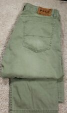 POLO RALPH LAUREN 650 STGHT.LEG-Olive Cttn Twill Mens Summer Chino Jeans-(32x30)