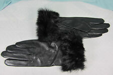 Leather Gloves Small with Rabbit Fur Trim Black All polyester Black lining NWT
