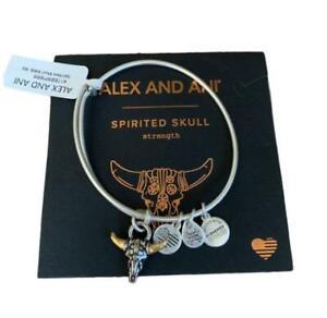 Alex and Ani Silver Spirited Skull Charm Bangle Bracelet Strength NEW Card