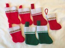 7 Mini Craft Christmas Stocking Holiday Decor Lot Used Red Green Felt Trim White