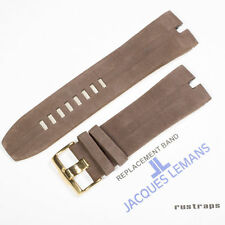 Original Jacques Lemans 28mm brown leather watch band for 1-1422F model