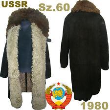 Sz.60 Rare! Soviet Guard Sheepskin Coat TULUP USSR Fur Coat Extreme cold ТУЛУП