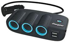 Energizer Triple 12V Socket Cigarette Adaptor Twin USB Phone NAV Charger 3 WAY