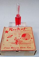 mint 1950's child's TOOTH BRUSH with ROCKET SHIP Holder & counter box