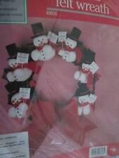 Snowmen Christmas Felt Wreath Craft Kit-12 Inches Round-Hobby Kraft #9806