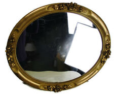 Wall Hanging Oval Mirror Ornate Flowers Plaster Wood Hollywood Regency  Vanity