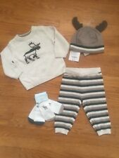 Gymboree Baby Boy 6-12m Moose Sweater Set With Matching Hat & Socks NWT