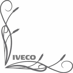 IVECO style truck cab window stickers word (pair) fine bullrush scroll