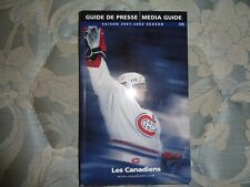 2001-02 MONTREAL CANADIENS MEDIA GUIDE Yearbook Press Book 2002 Program NHL AD