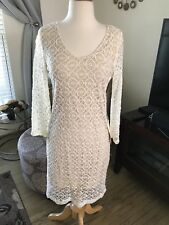 NWT Boston Proper long sleeved ivory overlay lace dress size S
