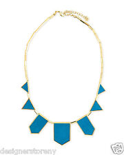 House of Harlow Nicole Richie 14kt Plated Teal Leather 5 Station Necklace