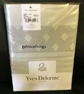 Prisme Flat Sheet King Silver Grey Basket Weave Border Cotton Sateen $430 NEW