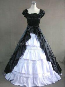 Abend Ball Kleid Satin  XL lang gothic lolita Victorian schwarz Spitze