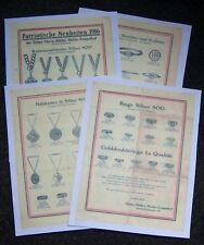 GERMAN - WW1, Patriotic Jewellry. 4 Page, Colour Picture Price List.  (Copies)