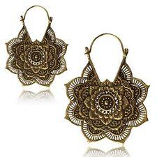 Mandala Flower Antiqued Plugs Hoops Pair Large Brass Earrings Hanger Ornate