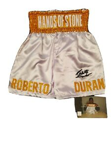Roberto Duran Manos De Piedra Autographed Signed WHITE Boxing Trunks ASI Proof