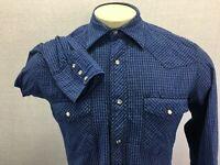Wrangler Blue Plaid Long Sleeve Pearl Snap Western Shirt Sz S