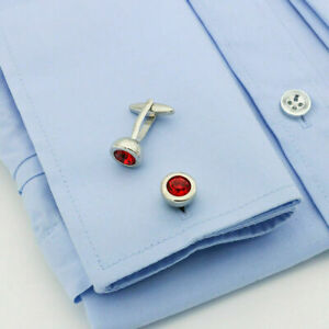 Men's 14k White Gold FN 2.60 CT Ruby Round Cut Design Shirt Cufflinks 925 Silver