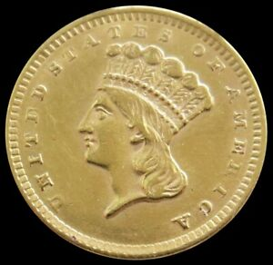 1856 GOLD US PRINCESS HEAD $1 DOLLAR TYPE 3 COIN ABOUT UNCIRCULATED
