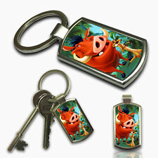 TIMON & PUMBA LION KING Keyring Custom Photo Gift Key Fob Metal Charm