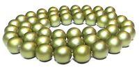 😏 Muschelkernperlen matt olivgrün 8mm Kugeln Muschel Perlen Strang für Kette 😉