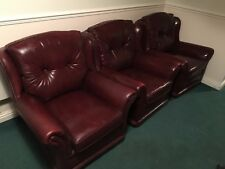 Distressed Single Sofa Arm Chairs Wheels Leather Vintage Retro Button Brown