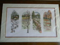 Completed Elsa Williams Cross Stitch EVERCHANGING SEASONS Floral 16x24 - JCA New