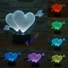 7 Color Change Romantic 3D LED Night Light Gift Touch Control Table Desk Lamp