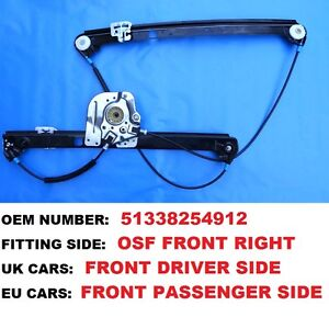 2000-2006 BMW X5 E53 SUV FRONT RIGHT DRIVERS COMPLETE ELECTRIC WINDOW REGULATOR