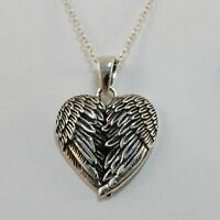 Angel Wings Heart Necklace - 925 Sterling Silver - Pendant Wing Memorial Love