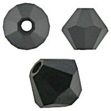 Swarovski Crystal, Faceted Bicone Jet Color. 6mm. Approx. 48 PCS. 5328