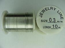 1 BOBINE FIL DE CUIVRE -COULEUR ARGENT  10m diam 0.3mm