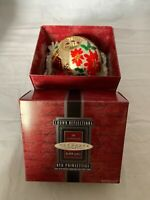 1998 Hallmark Keepsake Christmas Ornament Red Poinsettias Blown Glass Crown Refl